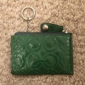 Coach keychain wallet green patent leather